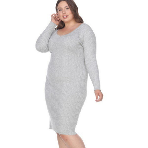 Grey Long Sleeves Plus Size Sweater Dress PS057-02 NWT